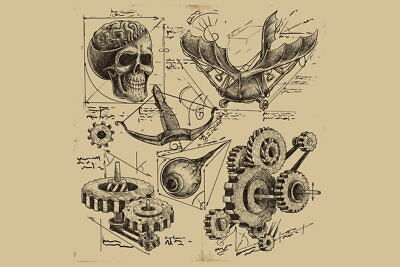 103578 Antique Engineering Drawings Sketches Art Decor WALL PRINT POSTER AU