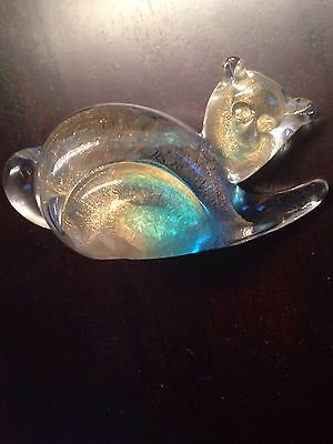 Rare Signed Chalet Canada Blue And Gold Art Glass Blown Cat