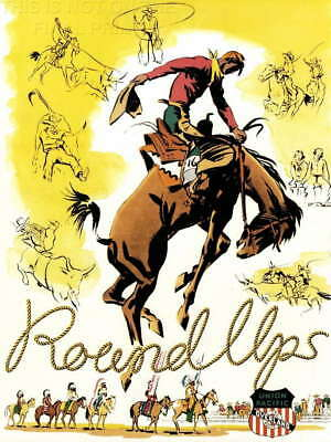 TR35 Vintage 1940's USA American Rodeo Parade Travel Poster Re-Print A2//A3//A4