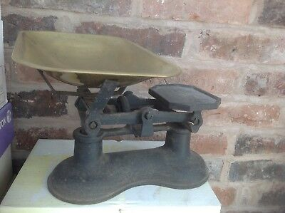 "Vintage, collectable brass and metal kitchen scales, antique 12"" x 11"" x 8"" high"