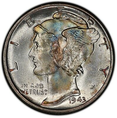 1943 Toned Mercury Dime ~ PCGS MS66 ~ Colorful Toning & TrueView!