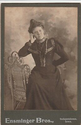 Cabinet Card Victorian Lady Gold Watch Chain,broach,curl Top Head,independence