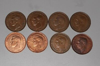 1939 and 1944 Penny Lot - Great Britain - 8 coins - FINE to UNC - George VI