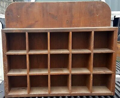 """VINTAGE ANTIQUE WOOD CUBBY HOLE WALL DISPLAY SHELVE 23 x 19"""" with 4X4"""" HOLES"""