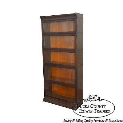 Antique Oak 5 Section Stacking Bookcase by Gunn
