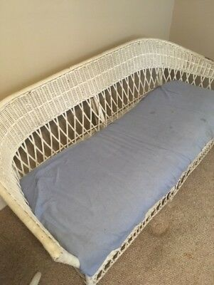 vintage wicker couch white