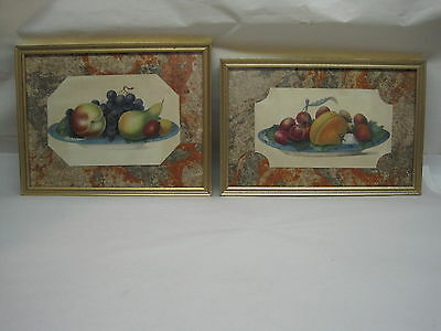 Antique Framed Pair Of Primitive Fruit Prints Hand Colored