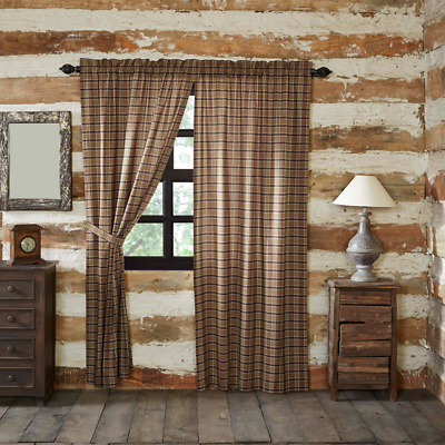 Wyatt Rustic Khaki Moss Green Plaid Lined Cotton Country Cottage Panels 2 Sizes