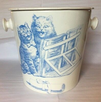 Antique Minton England Blue & White Chamber Pot Cats Kittens 1873-1912 incised