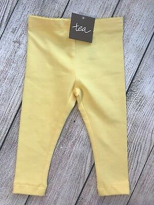 NWT Tea Collection Baby Girl Yellow Leggings 3-6 Months Brand New With Tags