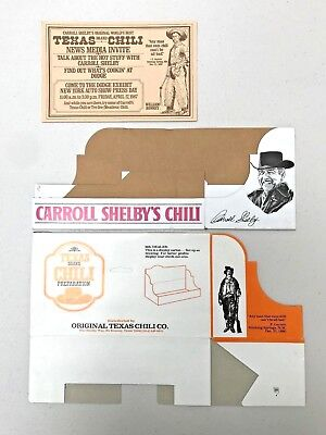 A 3 Piece Set - Carroll Shelby's Texas Chili Merchandising Display Packaging NOS