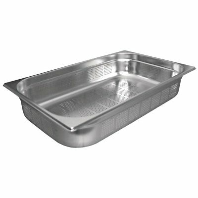 Stainless Steel 1/1 Size Perforated Gastronorm Pan Bain Marie Pot Choose