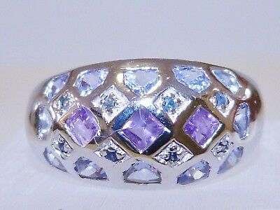GENUINE! RARE 1.53cts! Tanzanite, Sapphire & Amethyst Ring Solid S/Silver 925!!