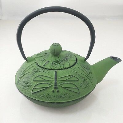 Green Japanese Traditional Style Cast Iron Teapot (Dragonfly)