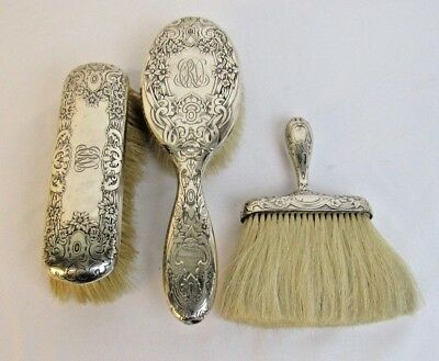 Antique Gorham Sterling Silver Vanity Three Brush Set