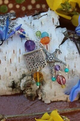 Necklace Mexican Sterling Pinata Party Banner Charm & Gemstone Papel Picado Fun