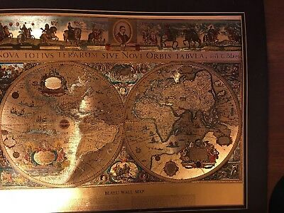Vintage Framed Gold Foil Blaeu Wall Map of Old and New World 23.00 x 19.5