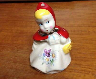 Little Red Riding Hood Pottery PIE BIRD with Gold Bow Unusual Hard to Find