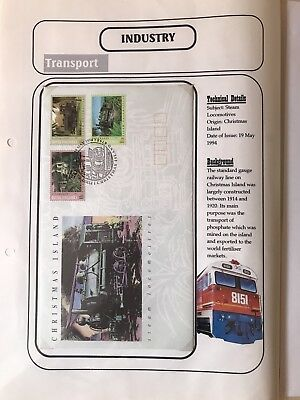 CHRISTMAS ISLANDS 1994 STEAM LOCOMOTIVES FDC -  THEME ON INFORMATION SHEET Lot 2