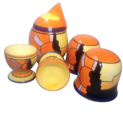 "Art Deco Studio Gotham style Hand- painted 5pc Breakfast Set ""Good Morning"""