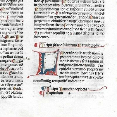 1 Very RARE 1483 Incunabula Latin Bible with Two Personalized POINTER FINGERS