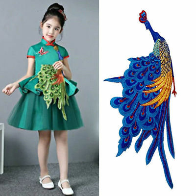 Peacock Iron On Applique Embroidered Sewing Trim Cloth Dress Decoration