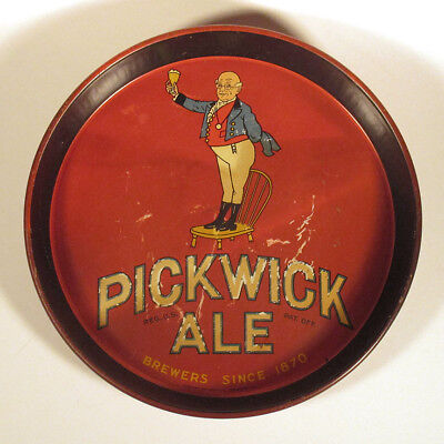 1930s 1940s Scarce PICKWICK ALE Beer TIN TRAY Advertising Man on Chair Brewery