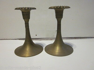 Vintage Pair Of Enesco Import Cut Rib Design Solid Brass Candlestick Holders