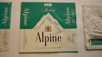 Vintage Old American Usa Cigarette Packet Label, Pm Alpine Brand Type 2
