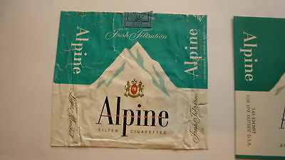 Vintage Old American Usa Cigarette Packet Label, Pm Alpine Brand Type 1
