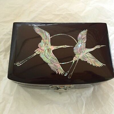 Black Lacquer Jewelry Box With Mother Of Pearl Abalone Shell Inlaid W 2 Birds