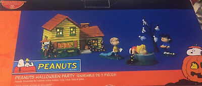 Peanuts Halloween Party 5 set light up house DEPT 56 in org box Retired L@@K