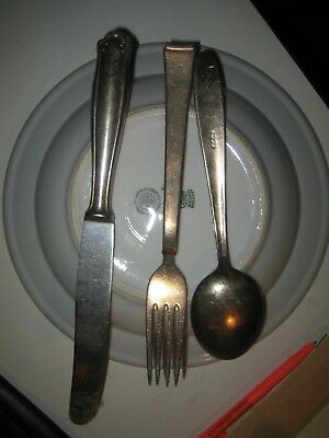 3 piece silver ware set  and plate bavaria  1940