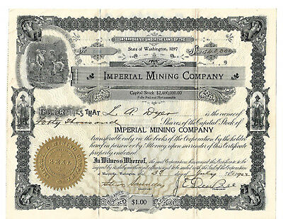 ** RARE ** IMPERIAL MINING COMPANY State of Washington Stock Cert. 1902 Issued