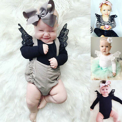 Newborn Toddler Baby Girls Lace Romper Bodysuit Long Sleeve Outfits Jumpsuit