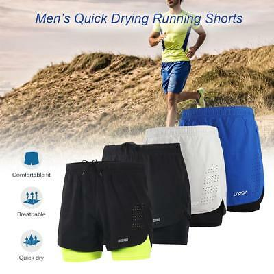 Arsuxeo Men's 2-in-1 Running Shorts Quick Drying Breathable Active Training O3G4