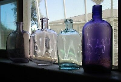Rare Lot Of (4) Antique 1800's Whiskey Flasks & Bottles. Nice Lot, All Nice !!