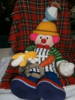 """HUGE 74cm (29"""") HAND KNITTED CLOWN DOLL w CUPCAKE ICECREAM BANANA SAUSAGES"""
