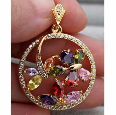 18K Yellow Gold Filled - Circle Butterfly Dragonfly Ruby Topaz Amethyst Pendant