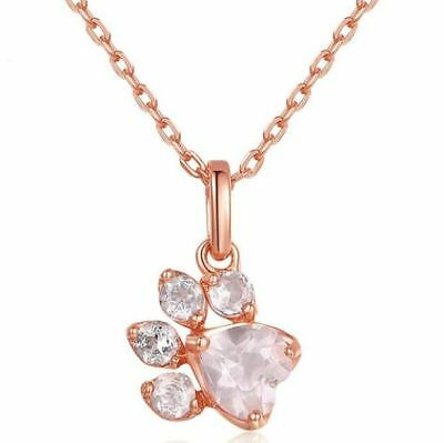 Cute Paw Print 18K Rose Gold Plate Necklace
