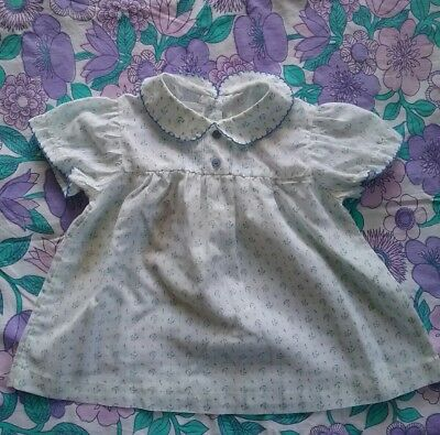Adorable vintage baby girls dress floral size 00 blue
