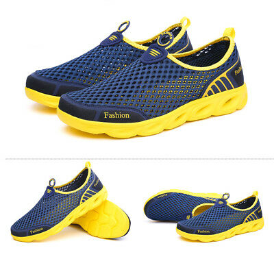 Men Casual Walking Outdoor Flats Sneakers Breathable Mesh Slip On Water Shoes