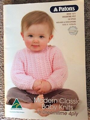 fab4398740a9 PATONS BABY KNITTING Pattern Book 1271 Modern Classic Dreamtime 4 ...
