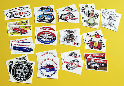 HOT ROD Retro vintage Sticker Decal SET OF 28!! Classic Drag Race Speed Shop USA
