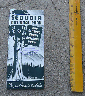 Original  1937 Sequoia National Park & General Grant National Park Info Brochure