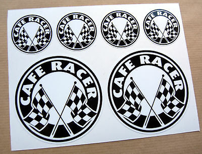 CAFE RACER Chequered Flag logo set stickers decals
