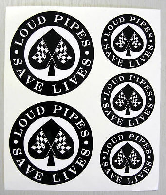 CAFE RACER Chequered Flag 'LOUD PIPES' stickers decals
