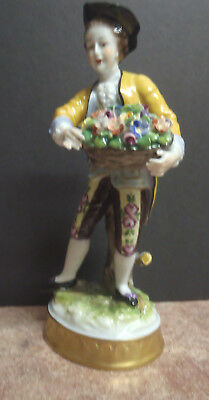 European made Figurine - Man with Basket of Flowers