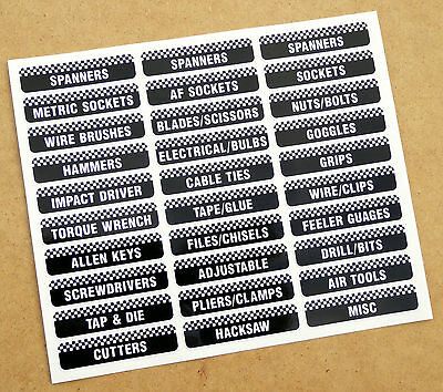 TOOLBOX TOOL CHEST Drawer LABEL stickers decals Identify your workshop tools