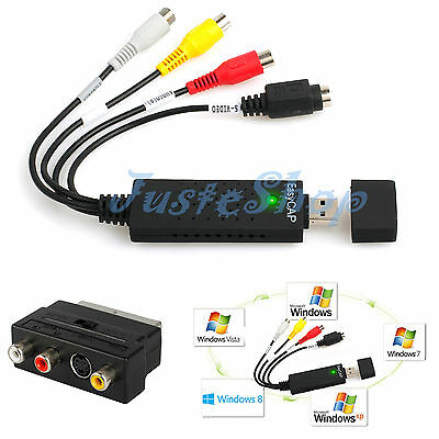 USB 2.0 VHS To DVD Capture Full Scart Kit Audio Video Converter + Leads Cable US
